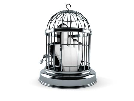 Birdcage with cursor isolated on white background Stock Photo