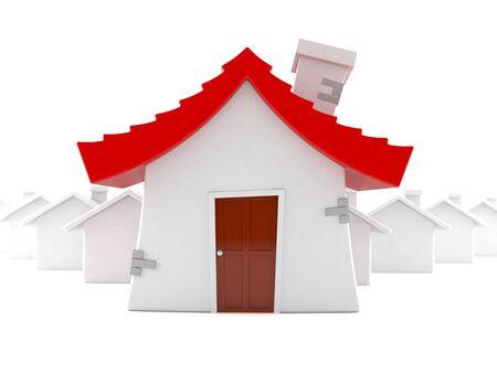Few houses isolated on white background Stock Photo