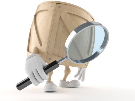 Crate character looking through a magnifying glass isolated on white background
