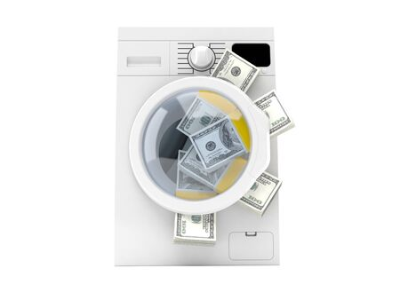 cleaning debt: Washing machine with dollar currency isolated on white background