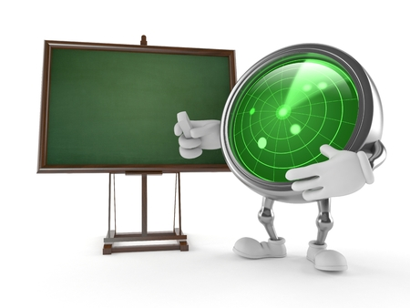 Radar character with blank blackboard isolated on white background Stock Photo