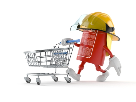 Fire extinguisher character pushing a shopping cart isolated on white background Stock Photo