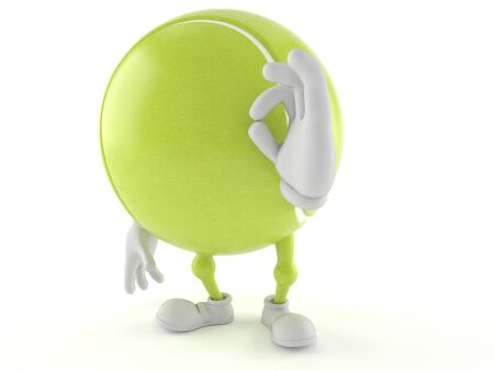 all ok: Tennis ball character with ok gesture isolated on white background