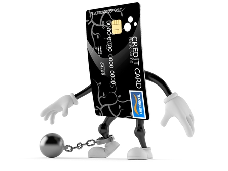 creditcard: Credit card character with prison ball isolated on white background