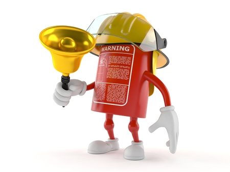 Fire extinguisher character with handbell isolated on white background