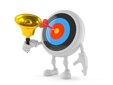 Bulls eye character with hand bell isolated on white background Stock Photo