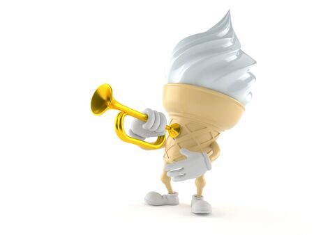 Ice cream character with trumpet isolated on white background