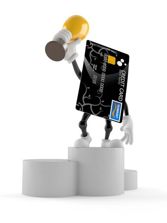Credit card character holding a trophy isolated on white background Stock Photo