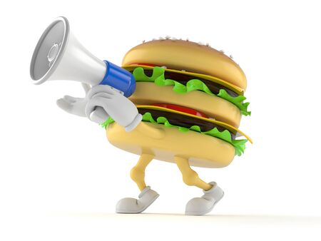 Hamburger character with megaphone isolated on white background