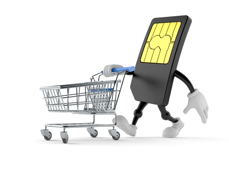 SIM card character pushing a shopping cart isolated on white background