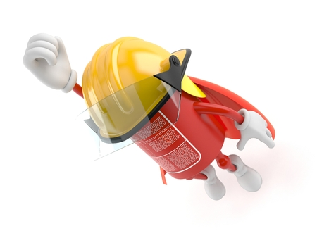 Fire extinguisher character with hero cape isolated on white background Archivio Fotografico