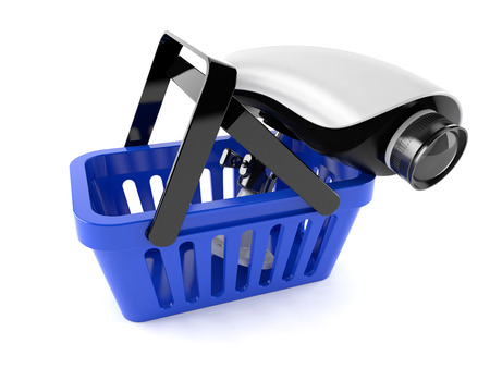 Shopping basket with secure camera isolated on white background
