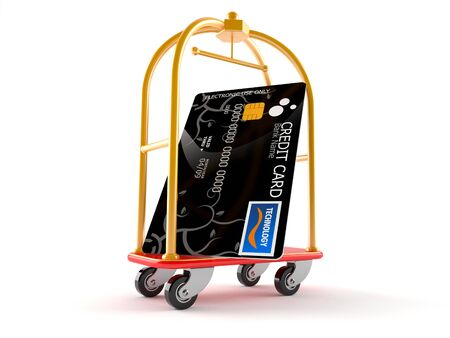 Hotel luggage cart with credit card isolated on white background