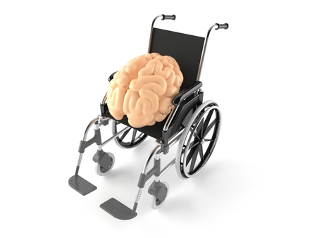 cerebral palsy: Wheelchair with brain isolated on white background