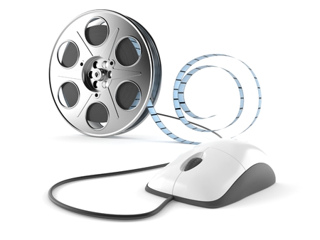 Film reel with computer mouse isolated on white background Stock Photo