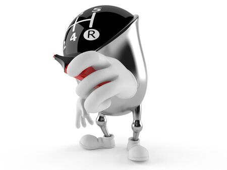 Gear knob character with marker isolated on white background