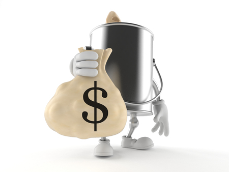 paintcan: Paint can character with money bag isolated on white background