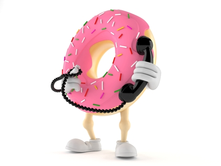 Donut character with handset isolated on white background