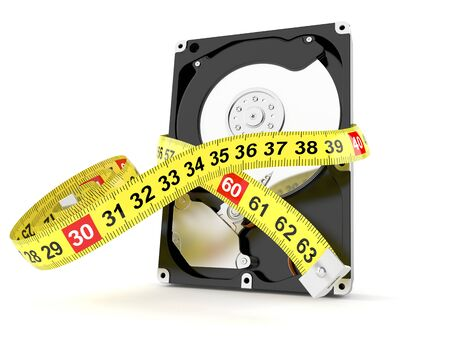 Hard drive size concept isolated on white background