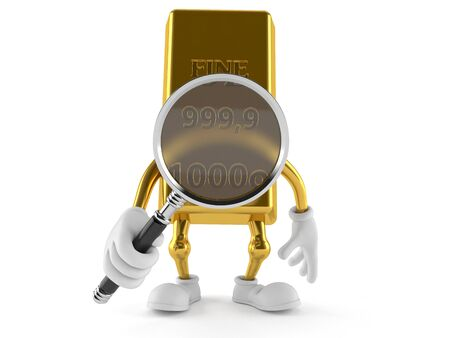 Gold character looking through magnifying glass isolated on white background