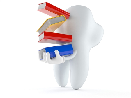Tooth character carrying books isolated on white background