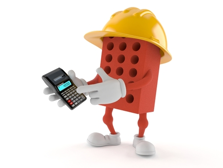 Brick character holding calculator on white background