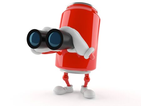 finding out: Soda can character looking through binoculars isolated on white background Stock Photo