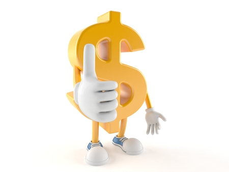 Dollar character with thumbs up isolated on white background