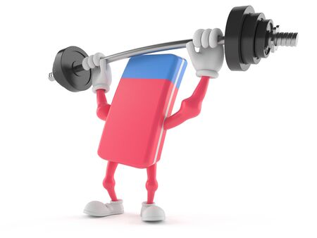 School rubber character lifting heavy barbell isolated on white background