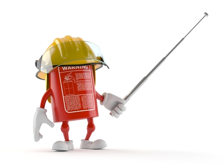 Fire extinguisher character holding pointer stick isolated on white background