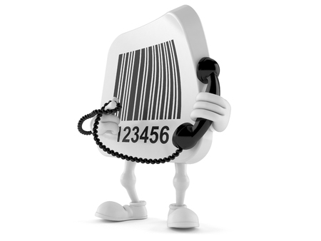 Barcode character holding a telephone handset isolated on white background Stock Photo