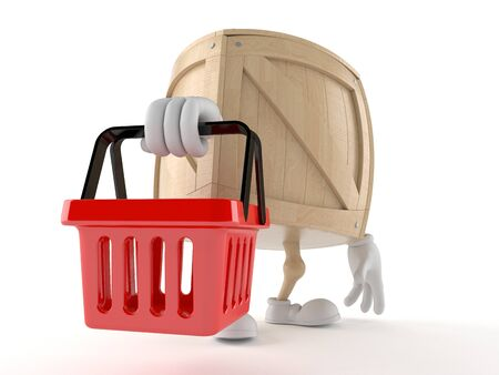 wood crate: Crate character holding shopping basket isolated on white background
