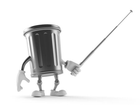 Trash can character holding pointer stick isolated on white background Stock Photo