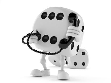 Dice character holding a telephone handset isolated on white background Stock Photo