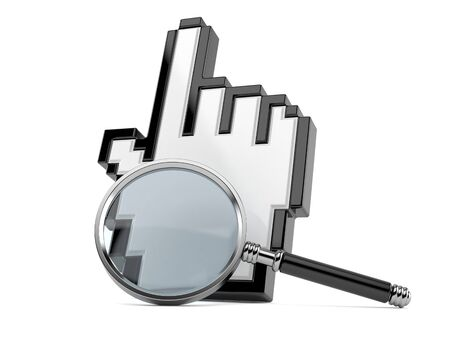 Cursor with magnifying glass isolated on white background Stock Photo