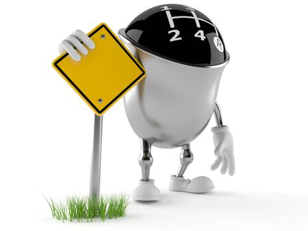 Gear knob character with road sign isolated on white background Stock Photo