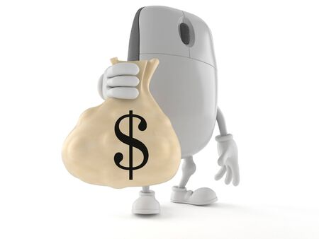 Computer mouse character holding money bag isolated on white background