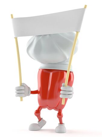 Paprika character holding banner on white background