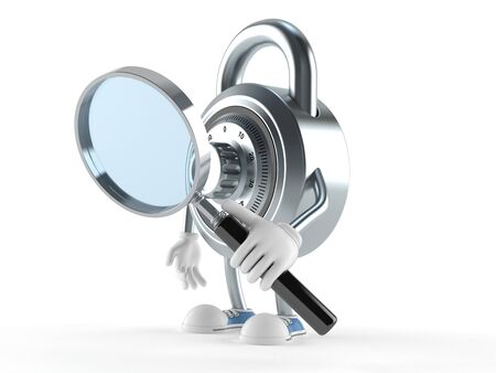 Combination lock character looking through magnifying glass isolated on white background