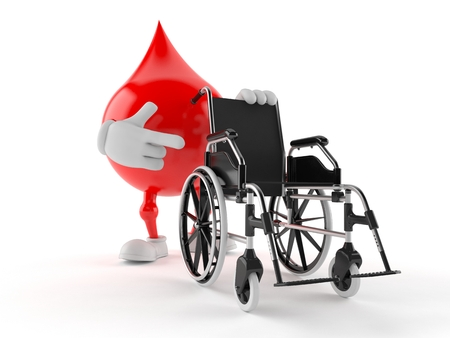Blood drop character with wheelchair isolated on white background Stock Photo