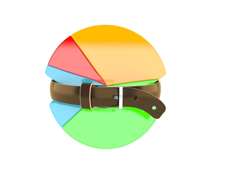 Pie chart with tight belt isolated on white background Stock Photo