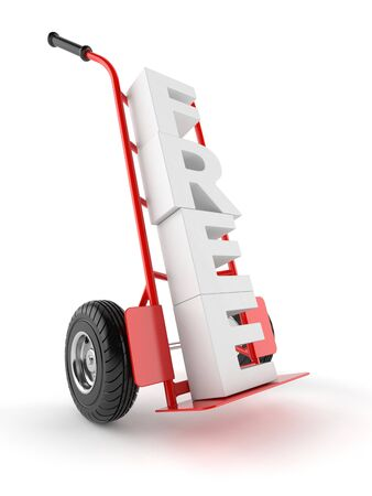 Handvrachtwagen met vrije die tekst op witte achtergrond wordt geïsoleerd
