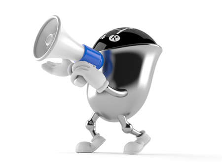 Gear knob character speaking through a megaphone isolated on white background