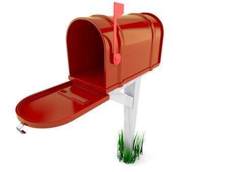 Open brievenbus die op witte achtergrond wordt geïsoleerd