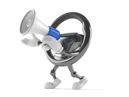 Car steering wheel character speaking through a megaphone isolated on white background