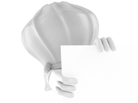 cook out: Chef character behind white board isolated on white background