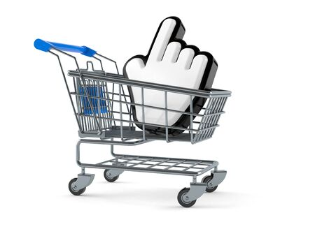 Shopping cart with cursor isolated on white background
