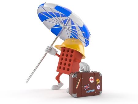 Brick Charakter mit Gepäck isoliert auf weißem Hintergrund Standard-Bild - 78083795