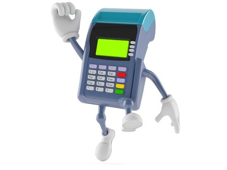 reader: Credit card reader character jumping on white background