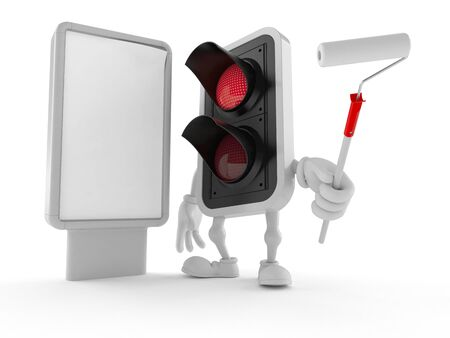 Red light character with blank billboard isolated on white background